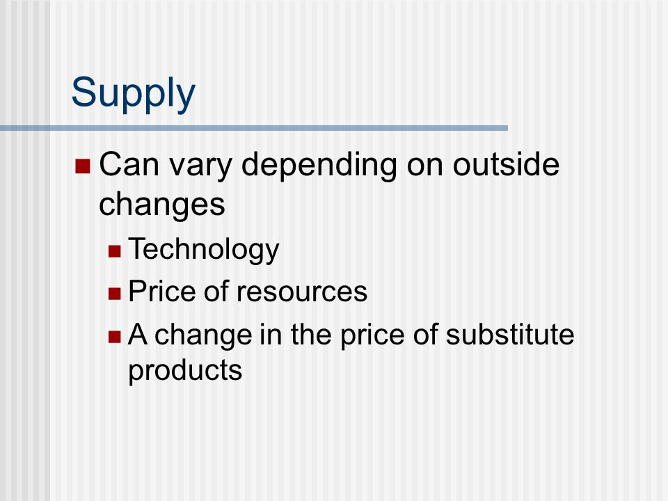 Supply Can vary depending on outside changes Technology Price of resources A change in the price of substitute products
