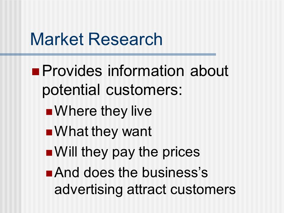 Market Research Provides information about potential customers: Where they live What they want Will they pay the prices And does the business's advertising attract customers