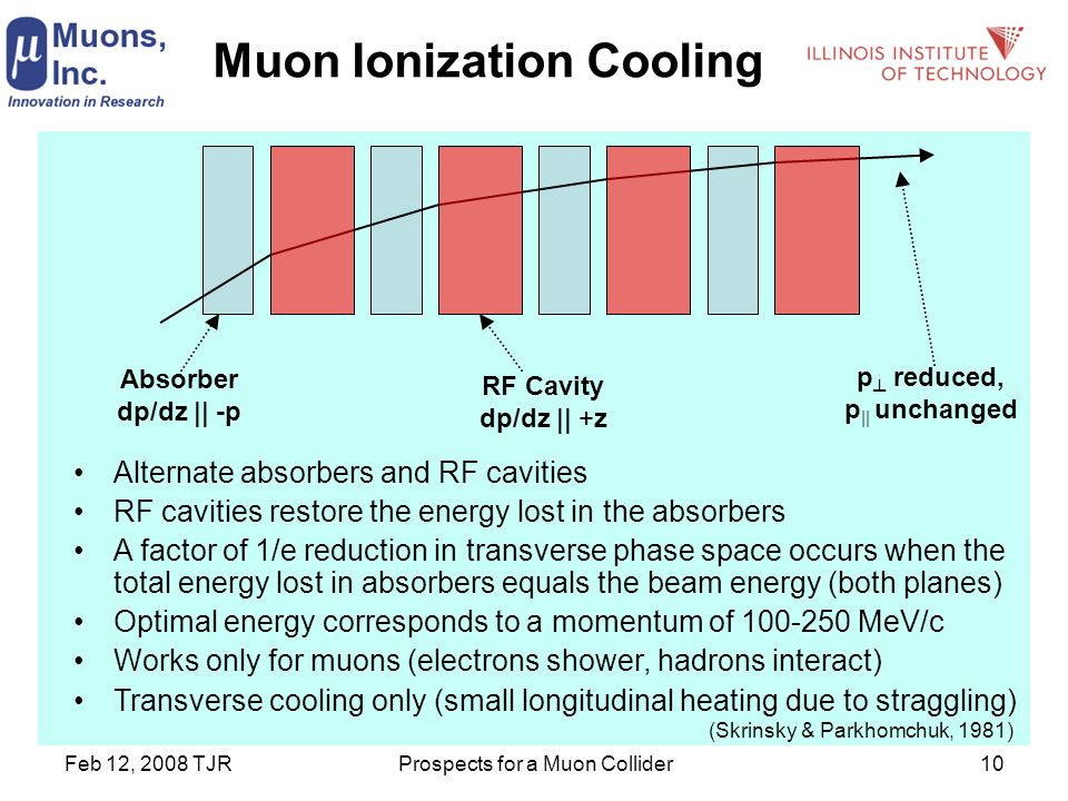 Feb 12, 2008 TJRProspects for a Muon Collider10 Muon Ionization Cooling Alternate absorbers and RF cavities RF cavities restore the energy lost in the absorbers A factor of 1/e reduction in transverse phase space occurs when the total energy lost in absorbers equals the beam energy (both planes) Optimal energy corresponds to a momentum of 100-250 MeV/c Works only for muons (electrons shower, hadrons interact) Transverse cooling only (small longitudinal heating due to straggling) Absorber dp/dz || -p RF Cavity dp/dz || +z p ┴ reduced, p || unchanged (Skrinsky & Parkhomchuk, 1981)