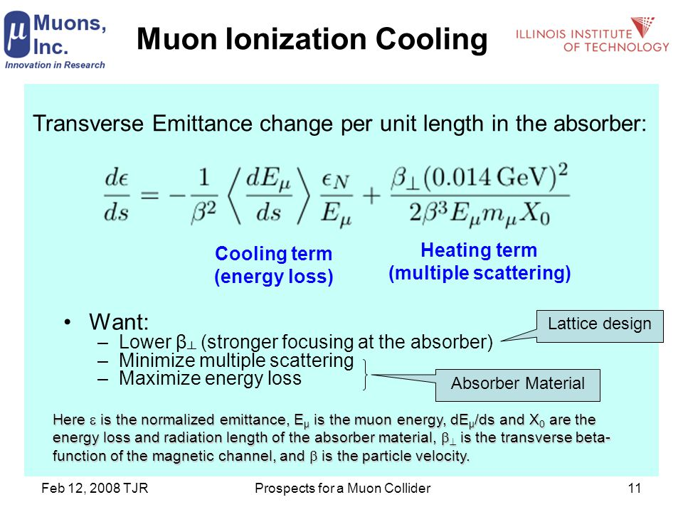 Feb 12, 2008 TJRProspects for a Muon Collider11 Muon Ionization Cooling Transverse Emittance change per unit length in the absorber: Cooling term (energy loss) Heating term (multiple scattering) Want: –Lower β ┴ (stronger focusing at the absorber) –Minimize multiple scattering –Maximize energy loss Here  is the normalized emittance, E µ is the muon energy, dE µ /ds and X 0 are the energy loss and radiation length of the absorber material,   is the transverse beta- function of the magnetic channel, and  is the particle velocity.