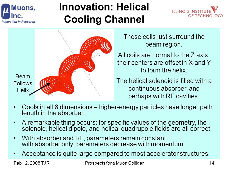 Feb 12, 2008 TJRProspects for a Muon Collider14 Innovation: Helical Cooling Channel Cools in all 6 dimensions – higher-energy particles have longer path length in the absorber A remarkable thing occurs: for specific values of the geometry, the solenoid, helical dipole, and helical quadrupole fields are all correct.