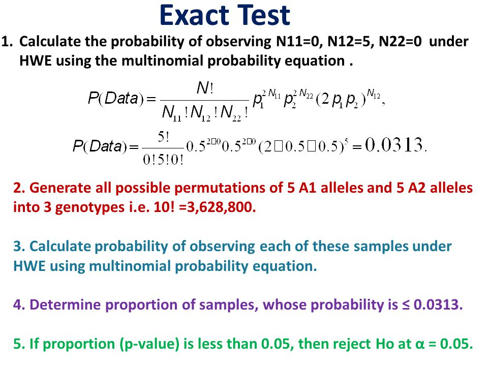 Exact Test 1.Calculate the probability of observing N11=0, N12=5, N22=0 under HWE using the multinomial probability equation.