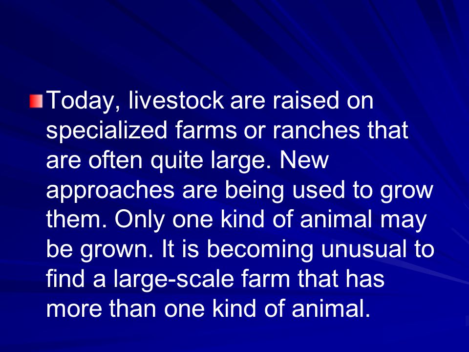 Today, livestock are raised on specialized farms or ranches that are often quite large.
