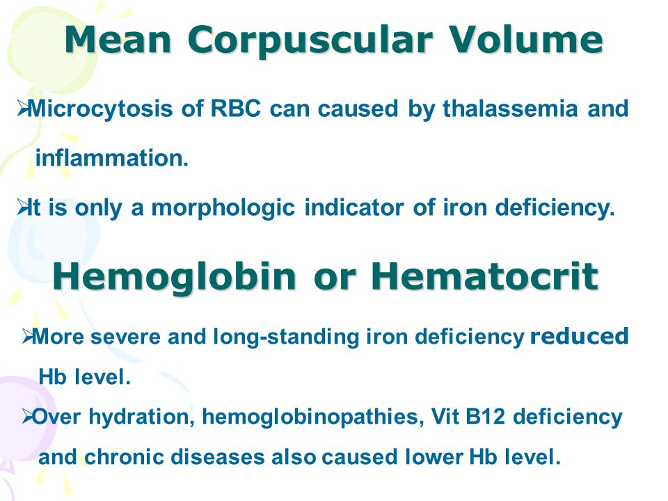 Mean Corpuscular Volume  Microcytosis of RBC can caused by thalassemia and inflammation.  It is only a morphologic indicator of iron deficiency. Hem
