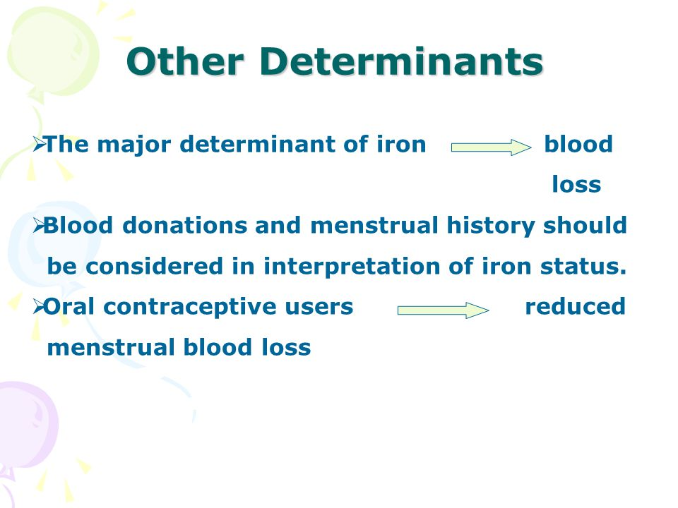 Other Determinants  The major determinant of iron blood loss  Blood donations and menstrual history should be considered in interpretation of iron status.