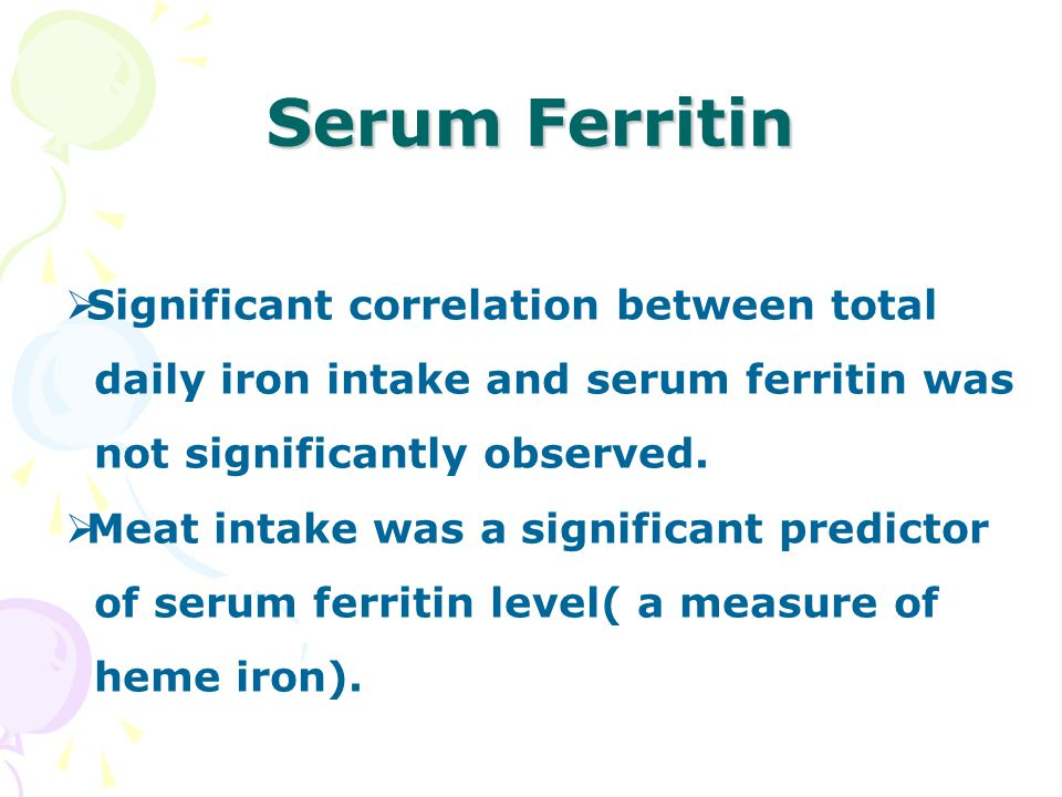  Significant correlation between total daily iron intake and serum ferritin was not significantly observed.  Meat intake was a significant predictor