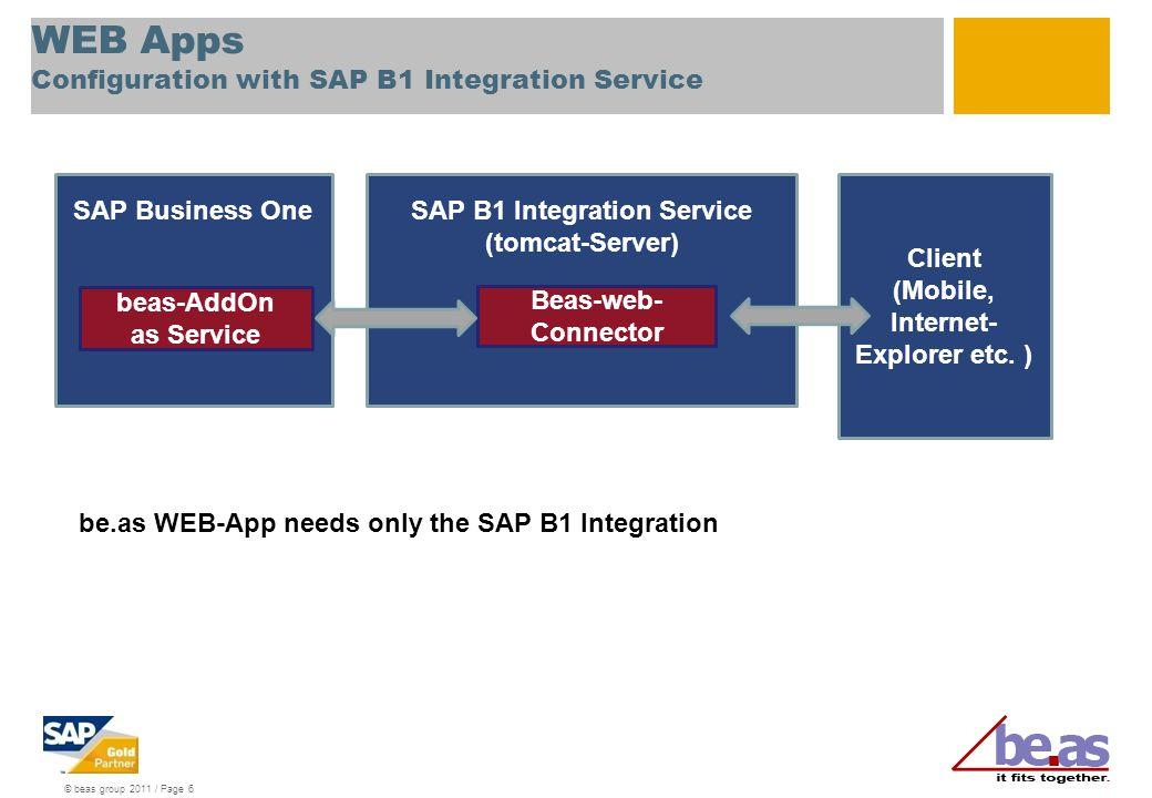 © beas group 2011 / Page 6 SAP Business OneSAP B1 Integration Service (tomcat-Server) WEB Apps Configuration with SAP B1 Integration Service Beas-web- Connector Client (Mobile, Internet- Explorer etc.