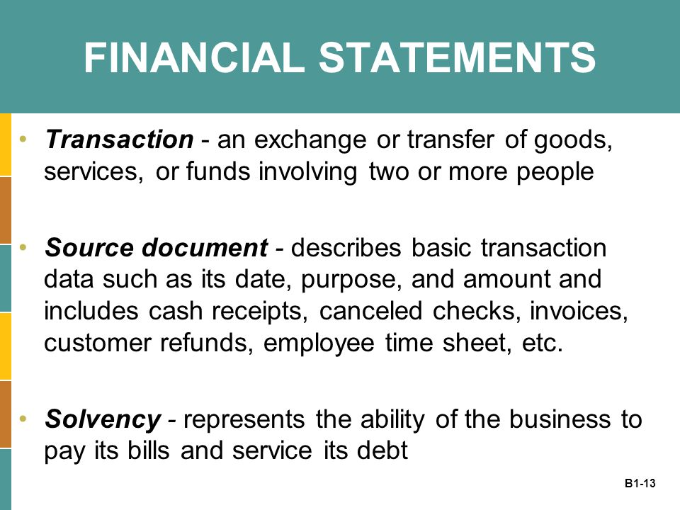 B1-13 FINANCIAL STATEMENTS Transaction - an exchange or transfer of goods, services, or funds involving two or more people Source document - describes basic transaction data such as its date, purpose, and amount and includes cash receipts, canceled checks, invoices, customer refunds, employee time sheet, etc.