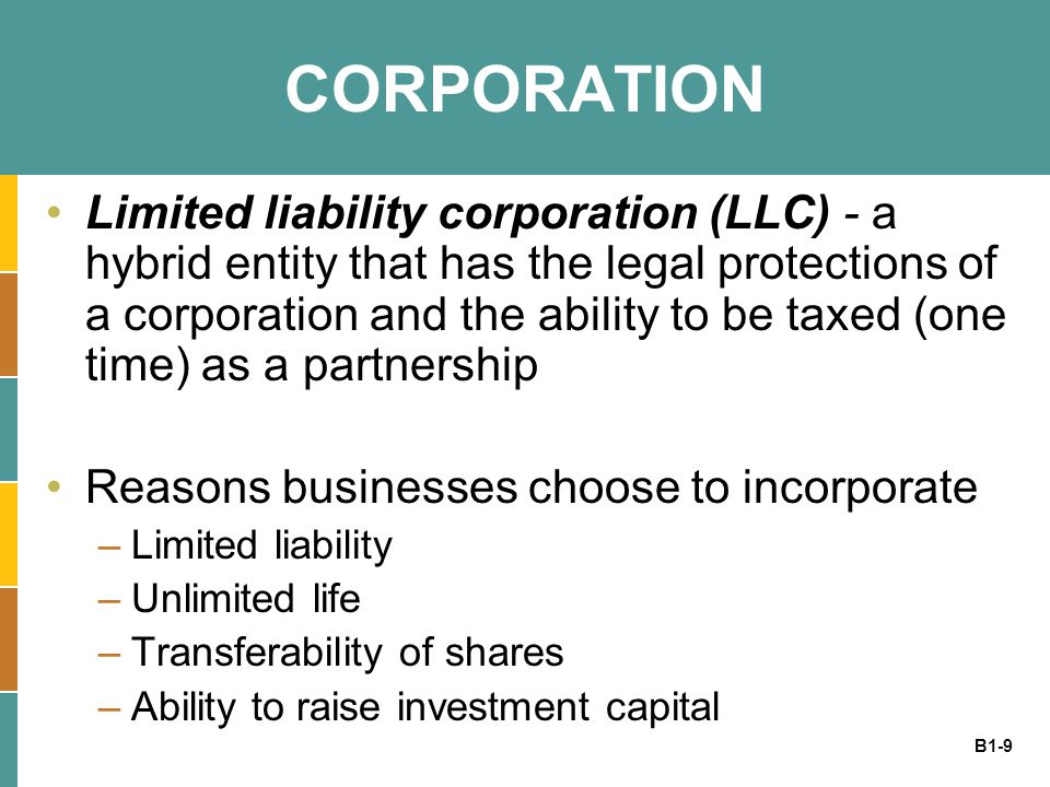 B1-9 CORPORATION Limited liability corporation (LLC) - a hybrid entity that has the legal protections of a corporation and the ability to be taxed (one time) as a partnership Reasons businesses choose to incorporate –Limited liability –Unlimited life –Transferability of shares –Ability to raise investment capital