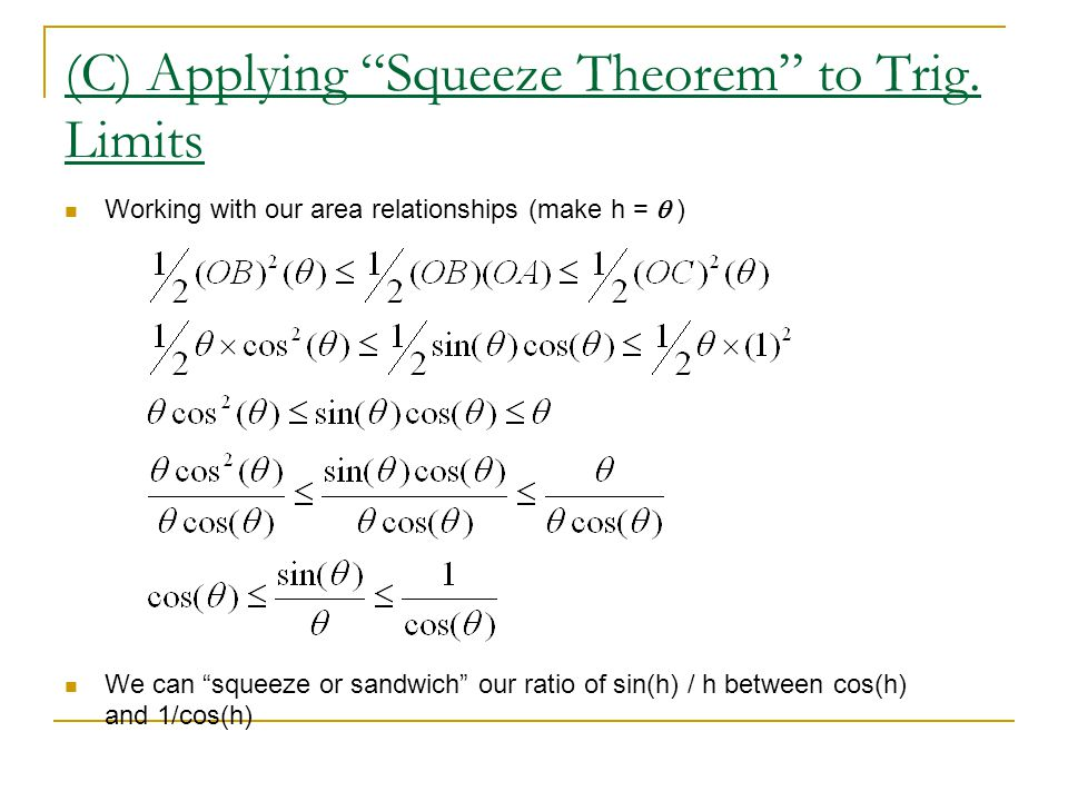 (C) Applying Squeeze Theorem to Trig.