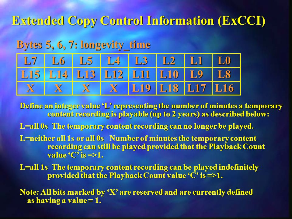 Extended Copy Control Information (ExCCI) Define an integer value 'L' representing the number of minutes a temporary content recording is playable (up to 2 years) as described below: L=all 0s The temporary content recording can no longer be played.