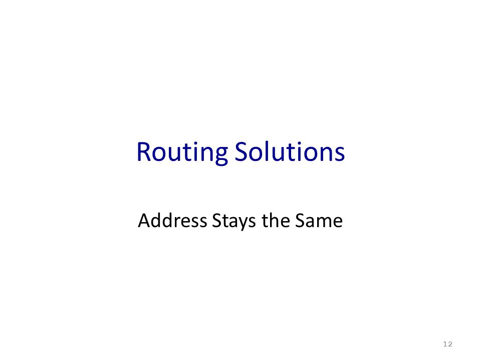Routing Solutions Address Stays the Same 12