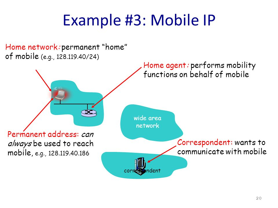 Example #3: Mobile IP 20 Home network: permanent home of mobile (e.g., 128.119.40/24) Permanent address: can always be used to reach mobile, e.g., 128.119.40.186 Home agent: performs mobility functions on behalf of mobile wide area network correspondent Correspondent: wants to communicate with mobile