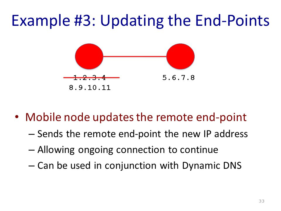 Example #3: Updating the End-Points Mobile node updates the remote end-point – Sends the remote end-point the new IP address – Allowing ongoing connection to continue – Can be used in conjunction with Dynamic DNS 33 1.2.3.45.6.7.8 8.9.10.11