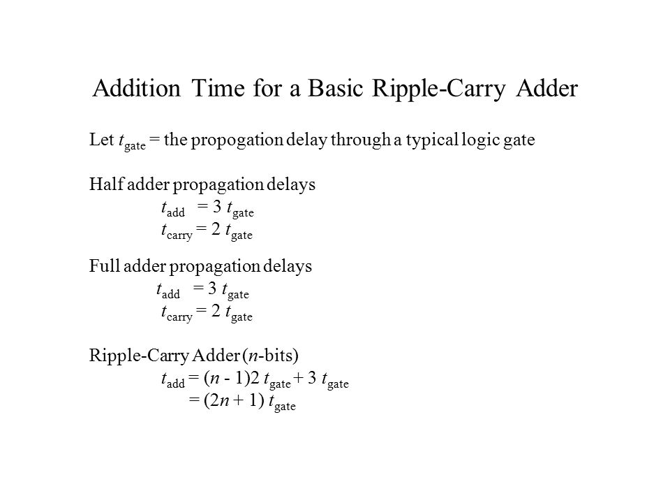 Addition Time for a Basic Ripple-Carry Adder Let t gate = the propogation delay through a typical logic gate Half adder propagation delays t add = 3 t gate t carry = 2 t gate Full adder propagation delays t add = 3 t gate t carry = 2 t gate Ripple-Carry Adder (n-bits) t add = (n - 1)2 t gate + 3 t gate = (2n + 1) t gate