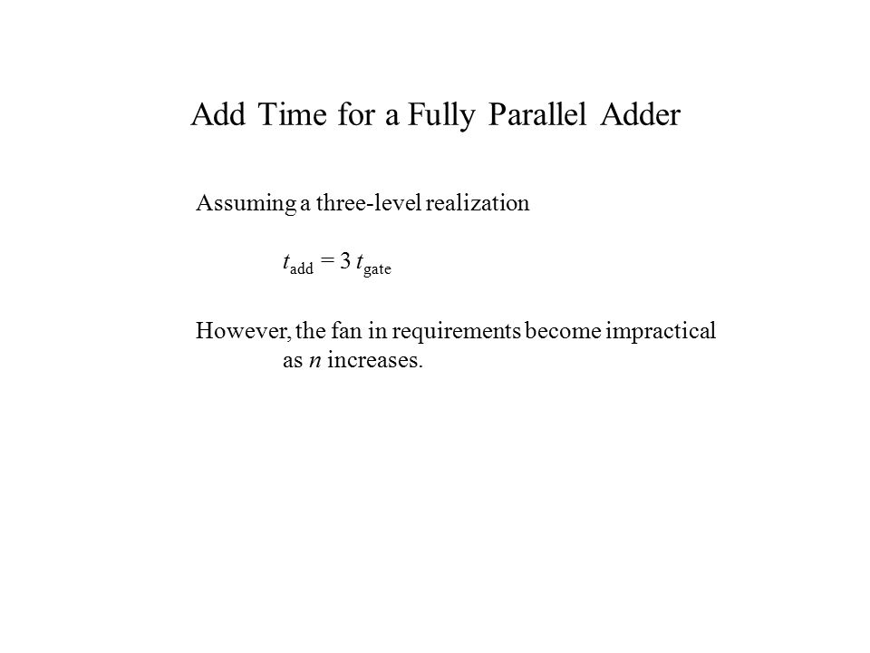 Add Time for a Fully Parallel Adder Assuming a three-level realization t add = 3 t gate However, the fan in requirements become impractical as n increases.
