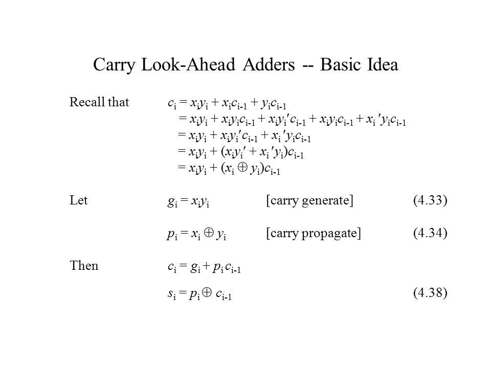 Carry Look-Ahead Adders -- Basic Idea Recall that c i = x i y i + x i c i-1 + y i c i-1 = x i y i + x i y i c i-1 + x i y i c i-1 + x i y i c i-1 + x i y i c i-1 = x i y i + x i y i c i-1 + x i y i c i-1 = x i y i + (x i y i + x i y i )c i-1 = x i y i + (x i  y i )c i-1 Letg i = x i y i [carry generate](4.33) p i = x i  y i [carry propagate](4.34) Thenc i = g i + p i c i-1 s i = p i  c i-1 (4.38)