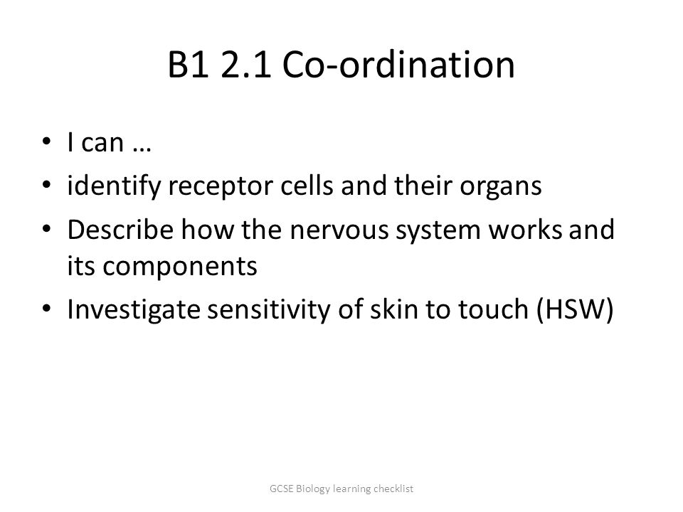 B1 2.1 Co-ordination I can … identify receptor cells and their organs Describe how the nervous system works and its components Investigate sensitivity of skin to touch (HSW) GCSE Biology learning checklist