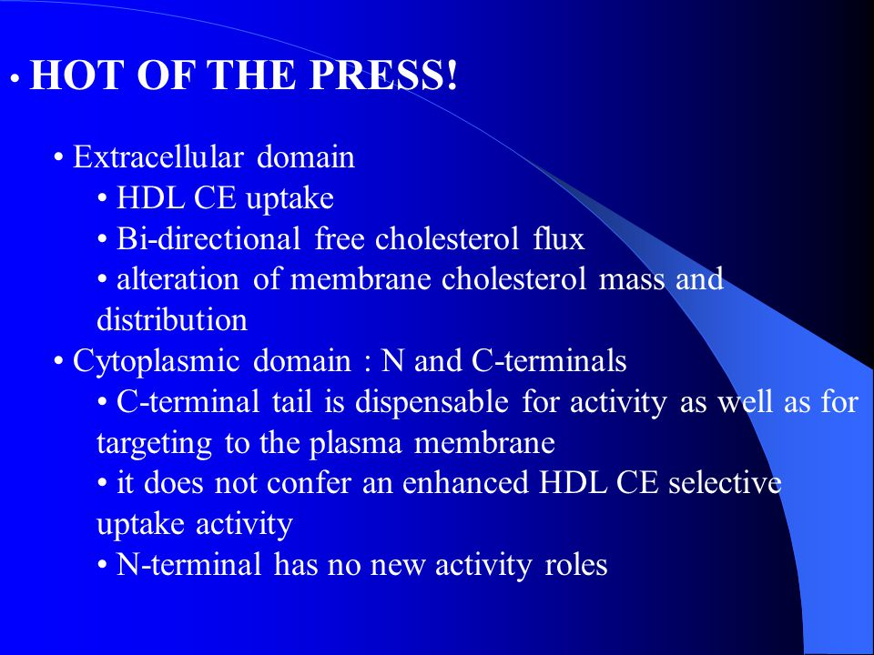 HOT OF THE PRESS! Extracellular domain HDL CE uptake Bi-directional free cholesterol flux alteration of membrane cholesterol mass and distribution Cyt