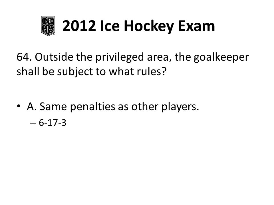 2012 Ice Hockey Exam 65.If the goalkeeper incurs a major penalty, who shall serve the penalty.