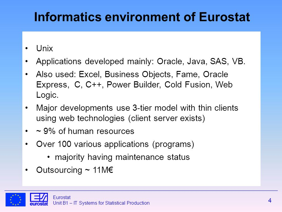 4 Eurostat Unit B1 – IT Systems for Statistical Production Unix Applications developed mainly: Oracle, Java, SAS, VB.