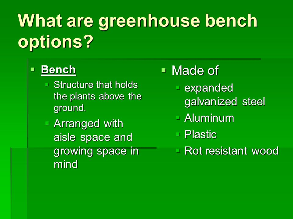 What are greenhouse bench options?  Bench  Structure that holds the plants above the ground.  Arranged with aisle space and growing space in mind 