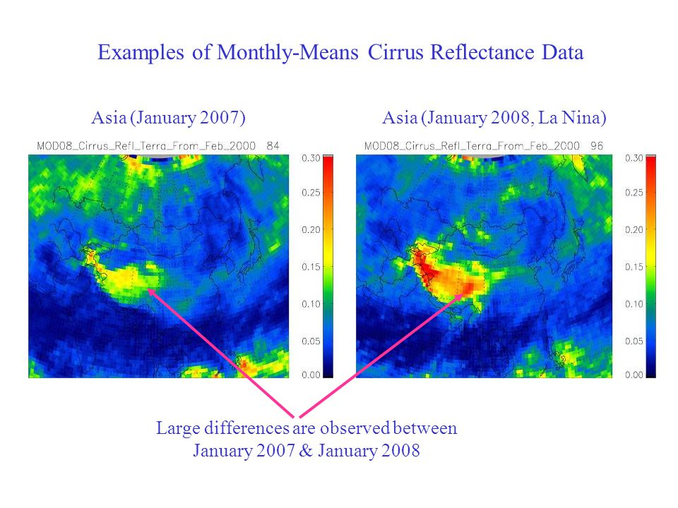 Examples of Monthly-Means Cirrus Reflectance Data Asia (January 2007)Asia (January 2008, La Nina) Large differences are observed between January 2007