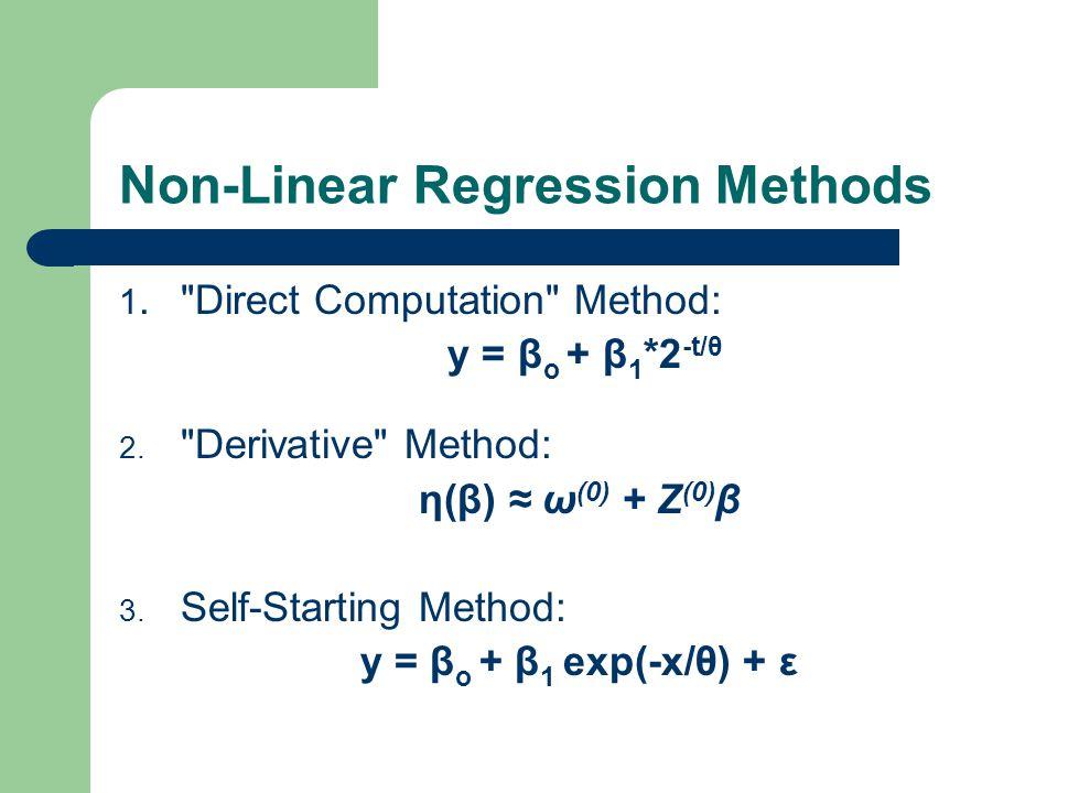 Non-Linear Regression Methods 1. Direct Computation Method: y = β o + β 1 *2 -t/θ 2.