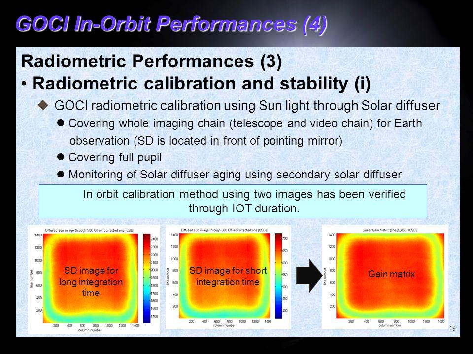 GOCI In-Orbit Performances (4) Radiometric Performances (3) Radiometric calibration and stability (i) 19  GOCI radiometric calibration using Sun ligh
