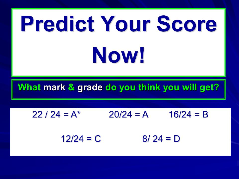 Predict Your Score Now. What mark & grade do you think you will get.