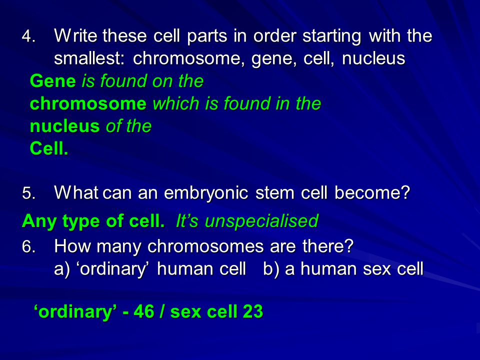 4. Write these cell parts in order starting with the smallest: chromosome, gene, cell, nucleus 5.