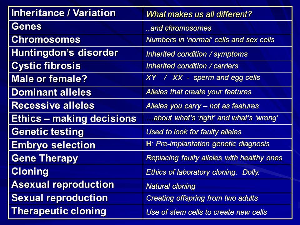 Inheritance / Variation GenesChromosomes Huntingdon's disorder Cystic fibrosis Male or female.