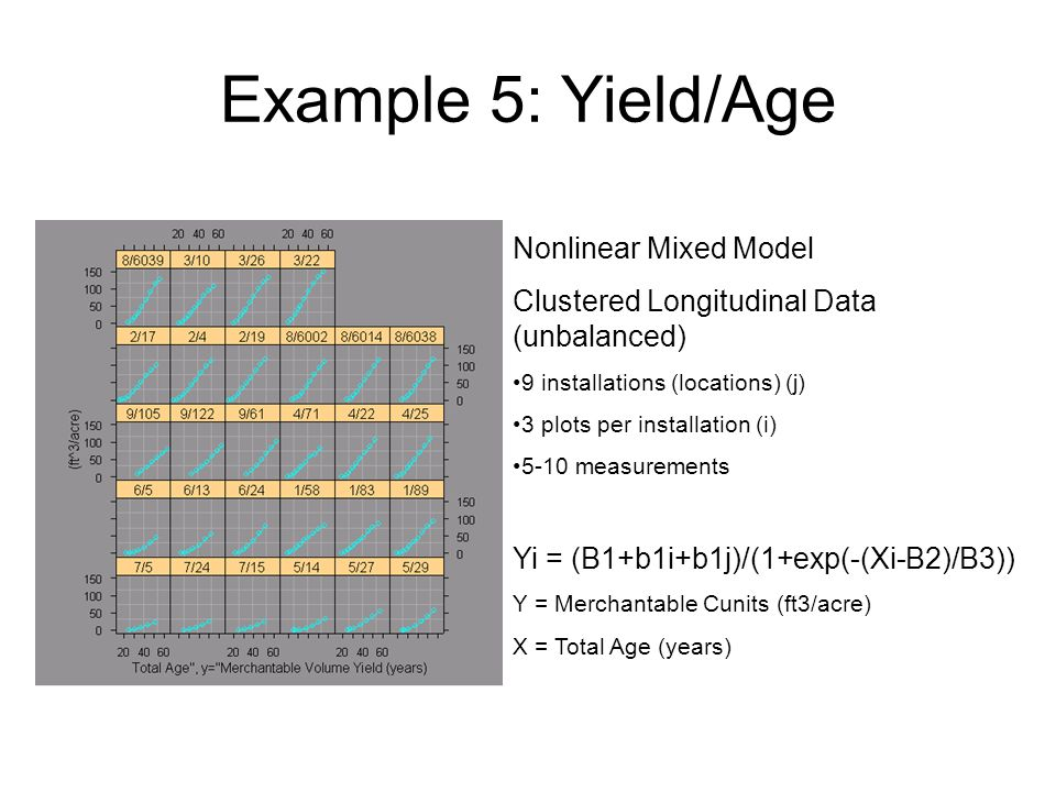 Example 5: Yield/Age Nonlinear Mixed Model Clustered Longitudinal Data (unbalanced) 9 installations (locations) (j) 3 plots per installation (i) 5-10 measurements Yi = (B1+b1i+b1j)/(1+exp(-(Xi-B2)/B3)) Y = Merchantable Cunits (ft3/acre) X = Total Age (years)