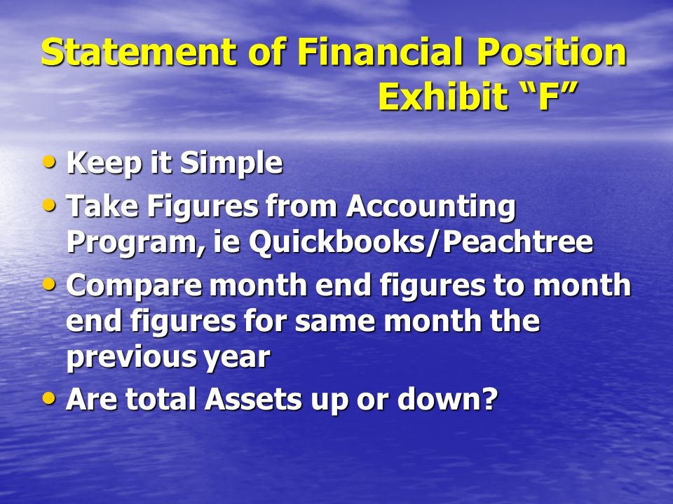 Statement of Financial Position Exhibit F Keep it Simple Keep it Simple Take Figures from Accounting Program, ie Quickbooks/Peachtree Take Figures from Accounting Program, ie Quickbooks/Peachtree Compare month end figures to month end figures for same month the previous year Compare month end figures to month end figures for same month the previous year Are total Assets up or down.