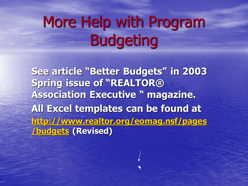 More Help with Program Budgeting See article Better Budgets in 2003 Spring issue of REALTOR® Association Executive magazine.