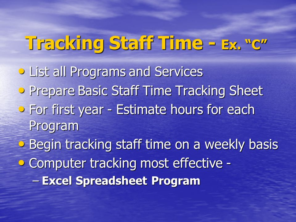 Tracking Staff Time - Ex.