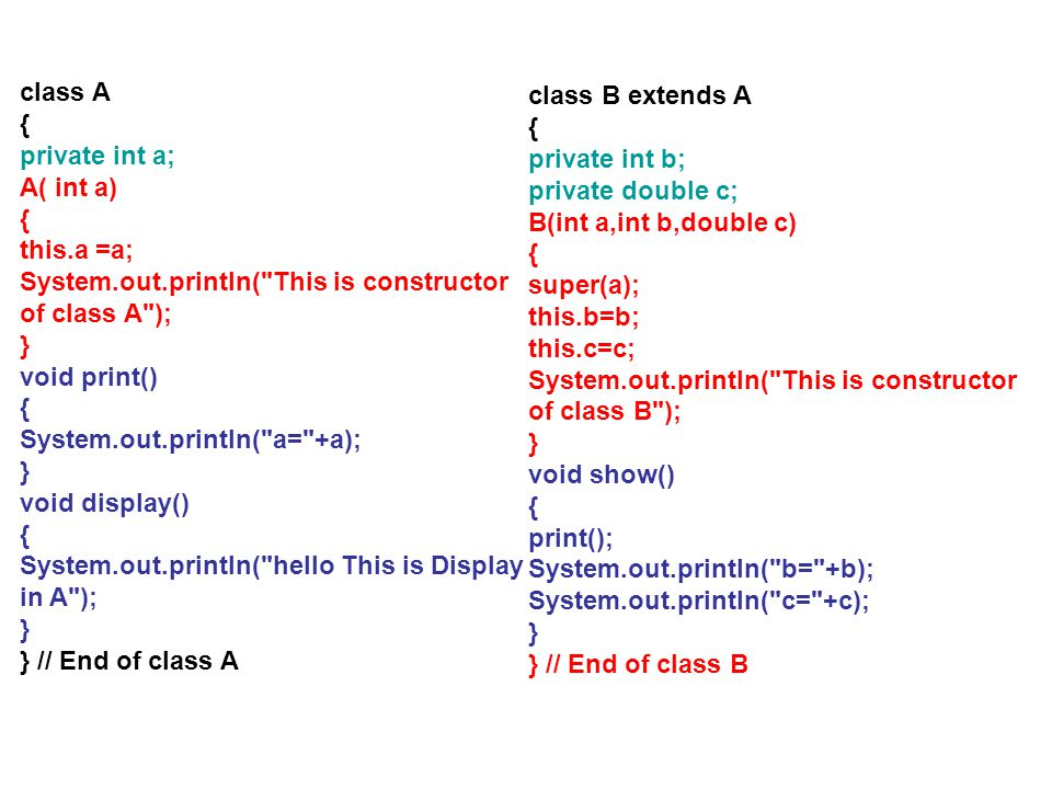 class A { private int a; A( int a) { this.a =a; System.out.println(