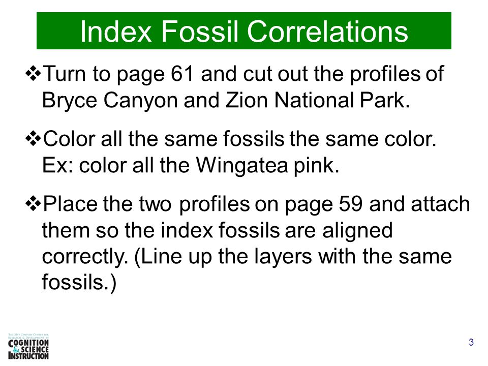 3 Index Fossil Correlations  Turn to page 61 and cut out the profiles of Bryce Canyon and Zion National Park.