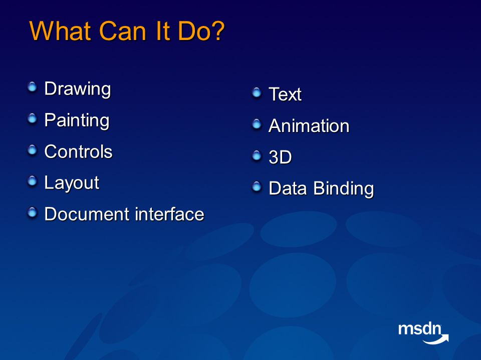 What Can It Do DrawingPaintingControlsLayout Document interface TextAnimation3D Data Binding