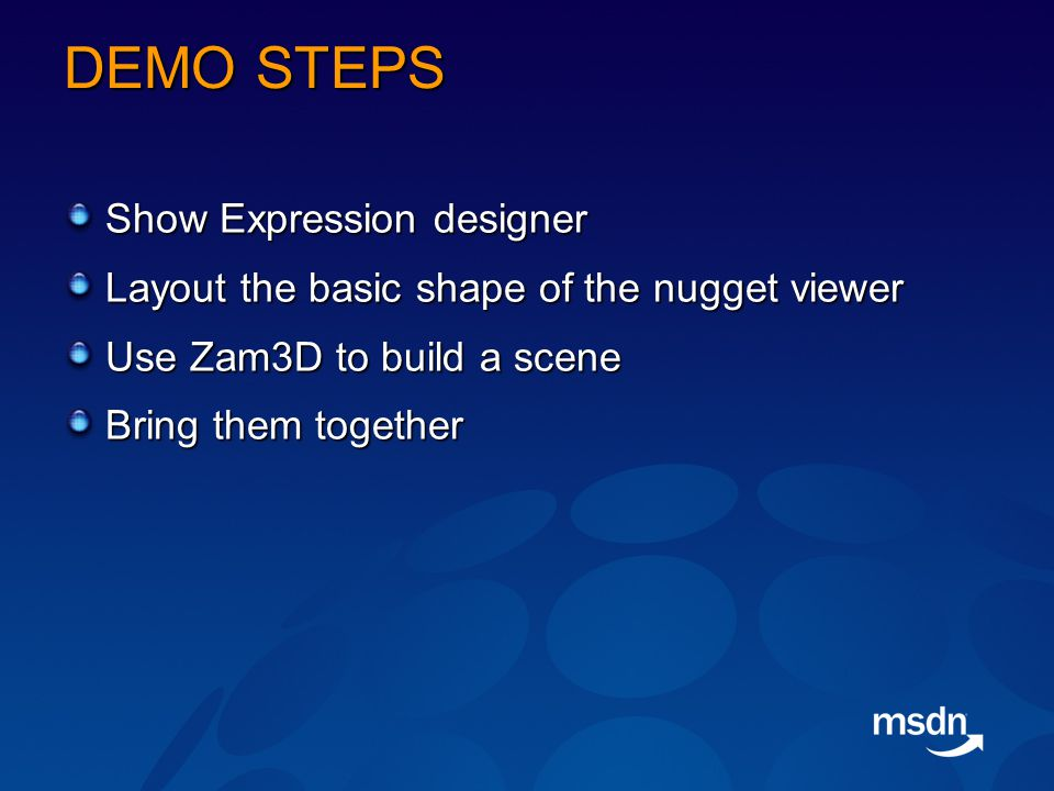 DEMO STEPS Show Expression designer Layout the basic shape of the nugget viewer Use Zam3D to build a scene Bring them together