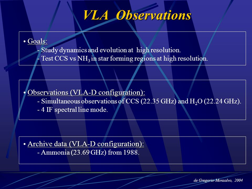 Goals: - Study dynamics and evolution at high resolution. - Test CCS vs NH 3 in star forming regions at high resolution. Observations (VLA-D configura