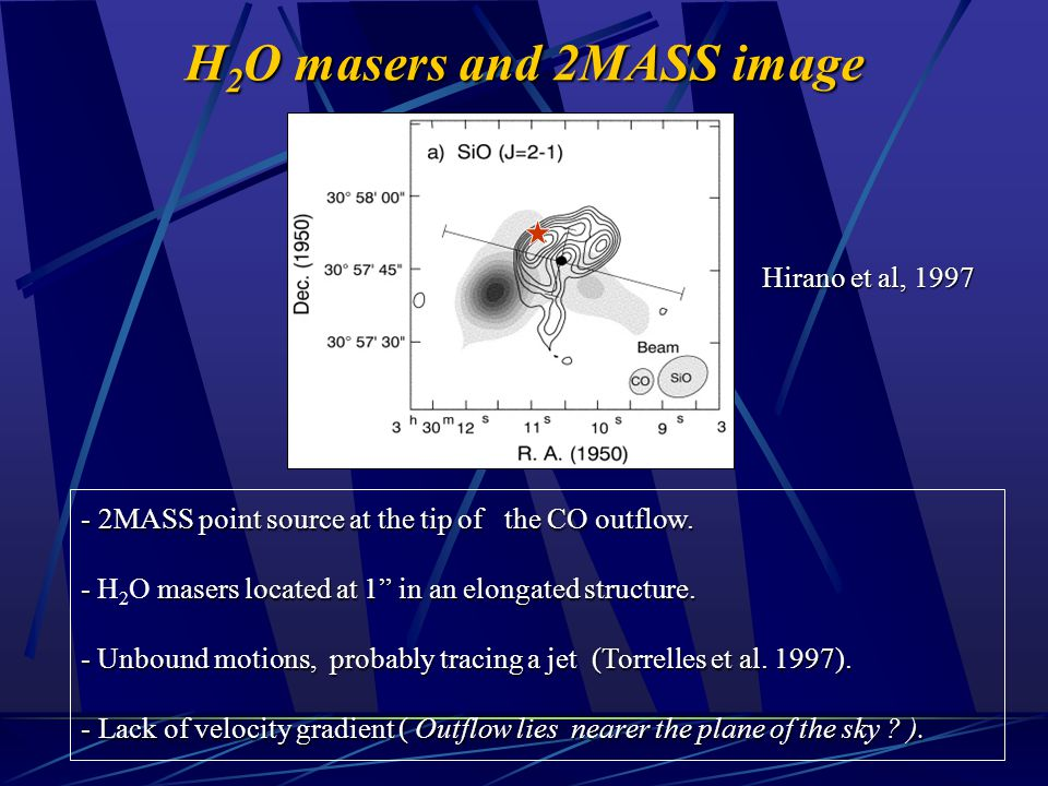 "H 2 O masers and 2MASS image - 2MASS point source at the tip of the CO outflow. - masers located at 1"" in an elongated structure. - H 2 O masers locat"