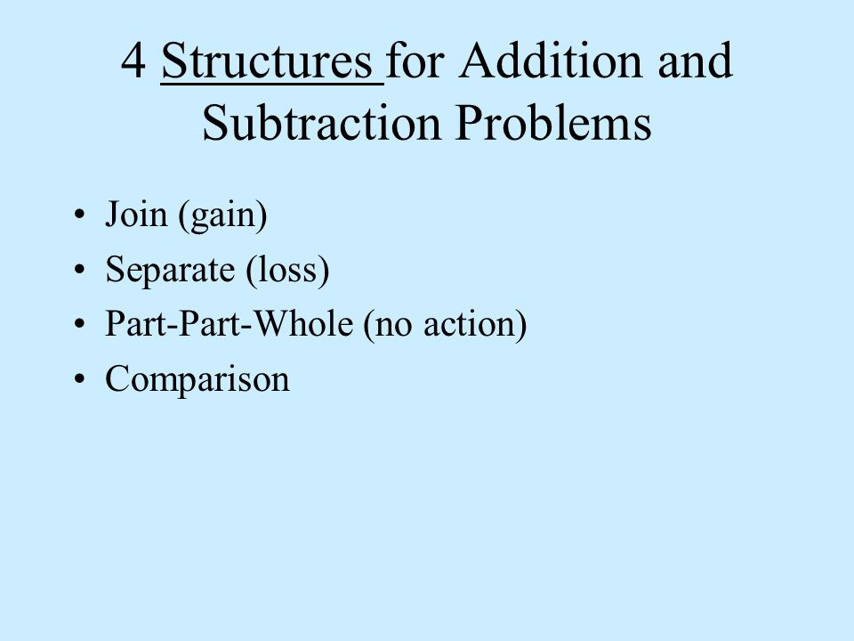 JOIN: an action suggesting gain After reading the problem, ask yourself 3 questions: a)What is the resulting value.
