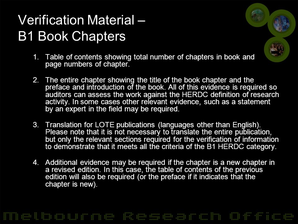 Verification Material – B1 Book Chapters 1.Table of contents showing total number of chapters in book and page numbers of chapter.