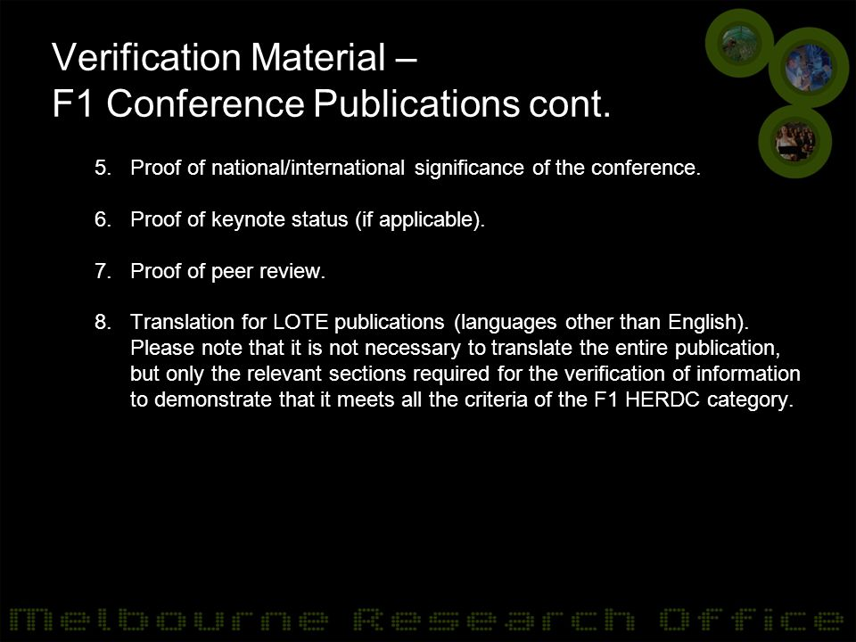 Verification Material – F1 Conference Publications cont.