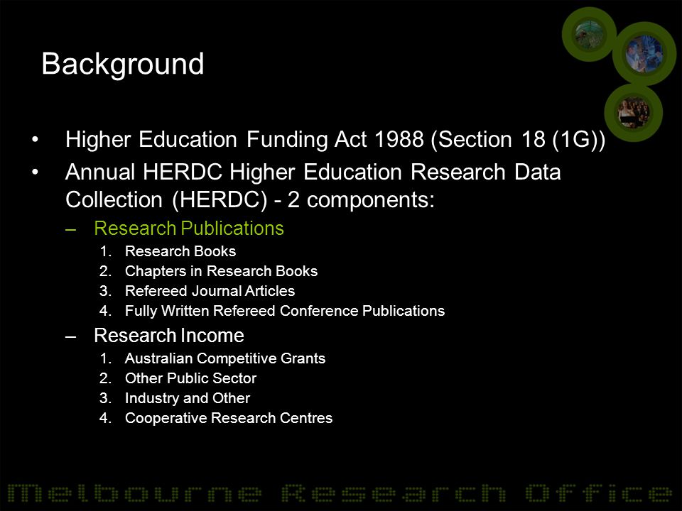 Background Higher Education Funding Act 1988 (Section 18 (1G)) Annual HERDC Higher Education Research Data Collection (HERDC) - 2 components: –Research Publications 1.Research Books 2.Chapters in Research Books 3.Refereed Journal Articles 4.Fully Written Refereed Conference Publications –Research Income 1.Australian Competitive Grants 2.Other Public Sector 3.Industry and Other 4.Cooperative Research Centres