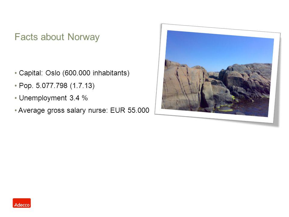 Facts about Norway Capital: Oslo (600.000 inhabitants) Pop. 5.077.798 (1.7.13) Unemployment 3.4 % Average gross salary nurse: EUR 55.000