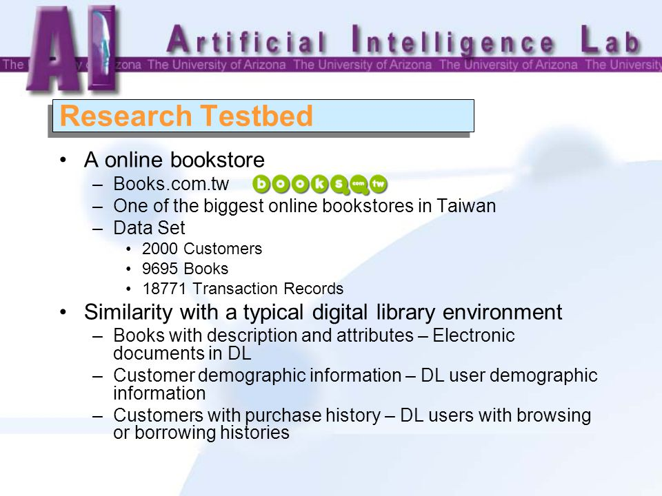 Research Testbed A online bookstore –Books.com.tw –One of the biggest online bookstores in Taiwan –Data Set 2000 Customers 9695 Books 18771 Transaction Records Similarity with a typical digital library environment –Books with description and attributes – Electronic documents in DL –Customer demographic information – DL user demographic information –Customers with purchase history – DL users with browsing or borrowing histories