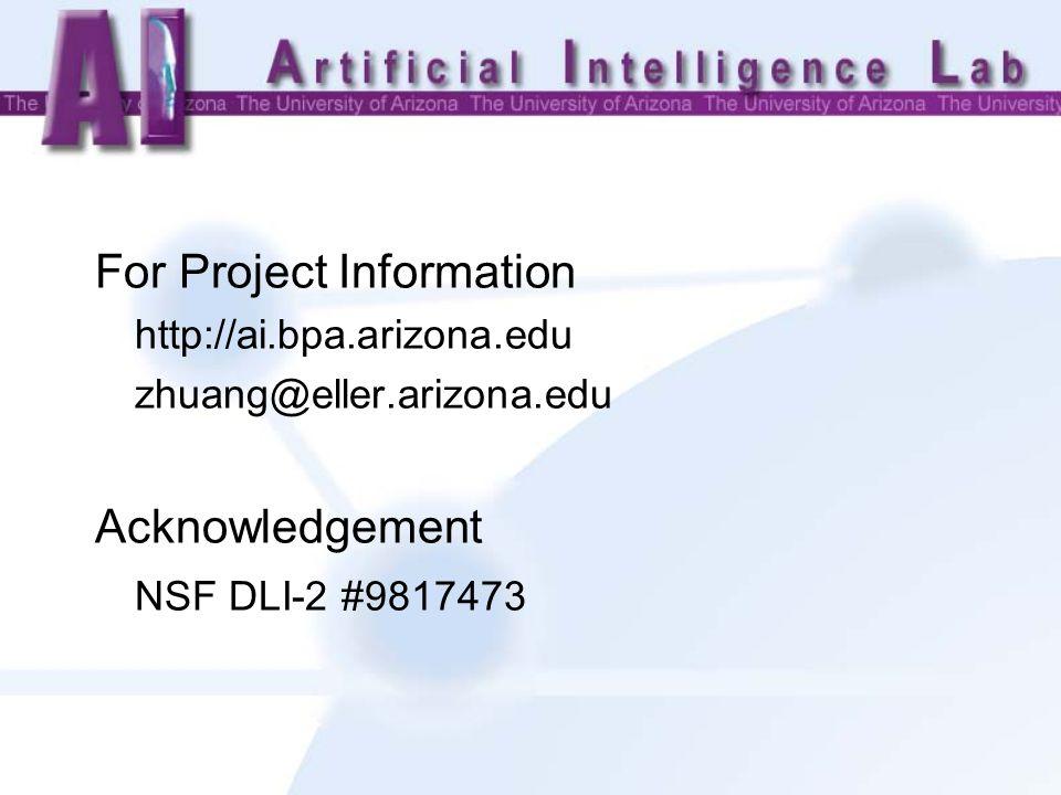 For Project Information http://ai.bpa.arizona.edu zhuang@eller.arizona.edu Acknowledgement NSF DLI-2 #9817473