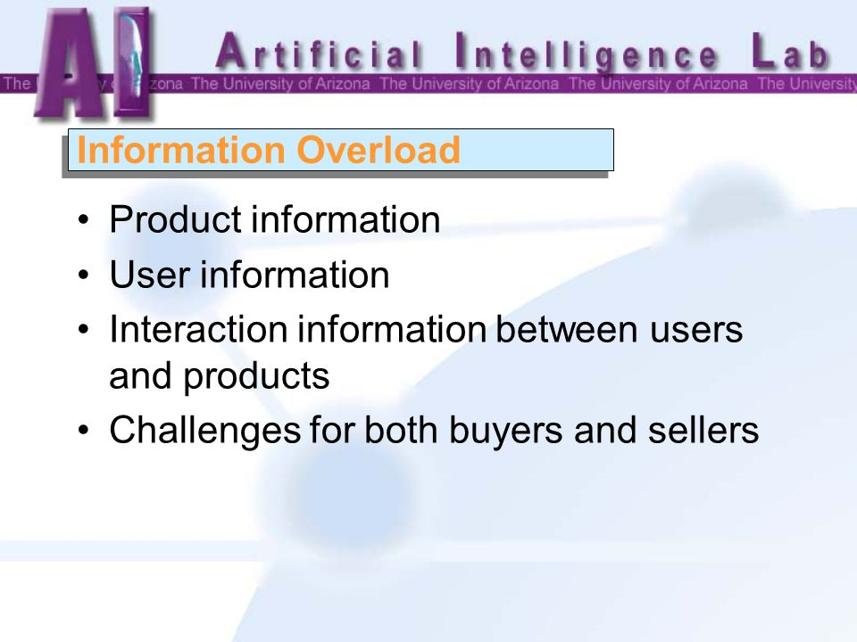 Product information User information Interaction information between users and products Challenges for both buyers and sellers Information Overload